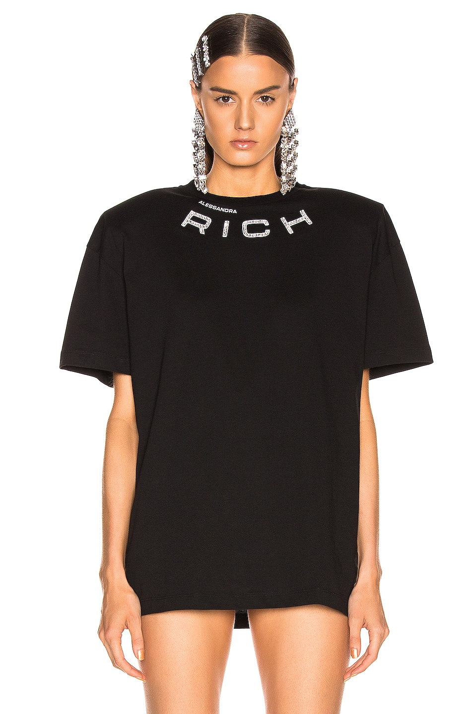 Image 2 of Alessandra Rich Padded Shoulder Oversized T Shirt in Black
