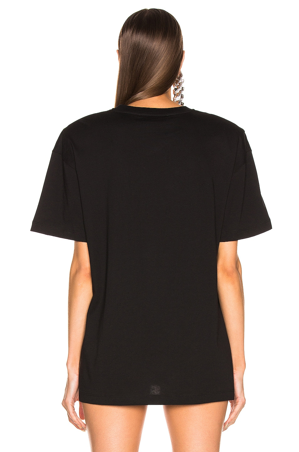 Image 4 of Alessandra Rich Padded Shoulder Oversized T Shirt in Black