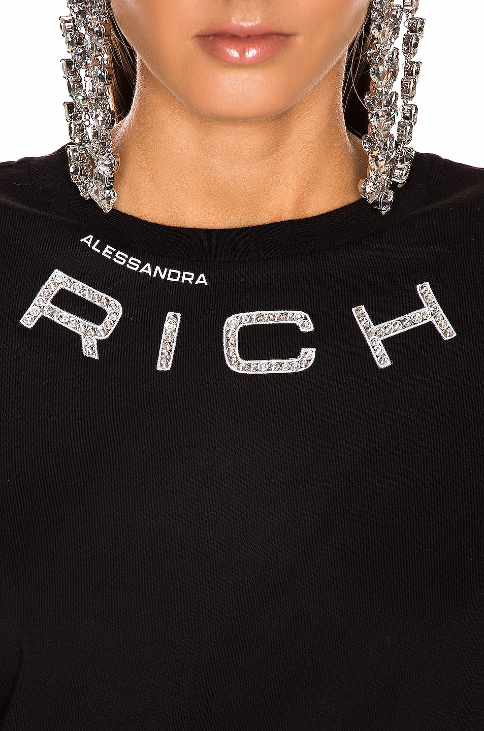 Image 6 of Alessandra Rich Padded Shoulder Oversized T Shirt in Black