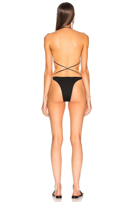 Image 3 of Alessandra Rich Tie Bikini Set in Black
