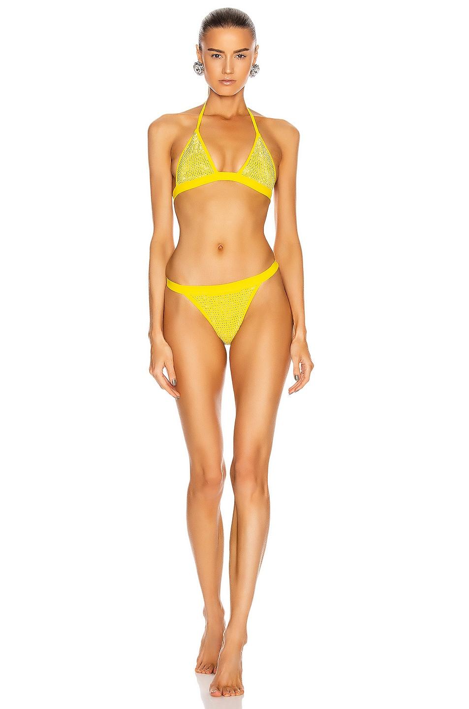 Image 1 of Alessandra Rich Crystal Embellished Bikini Set in Yellow