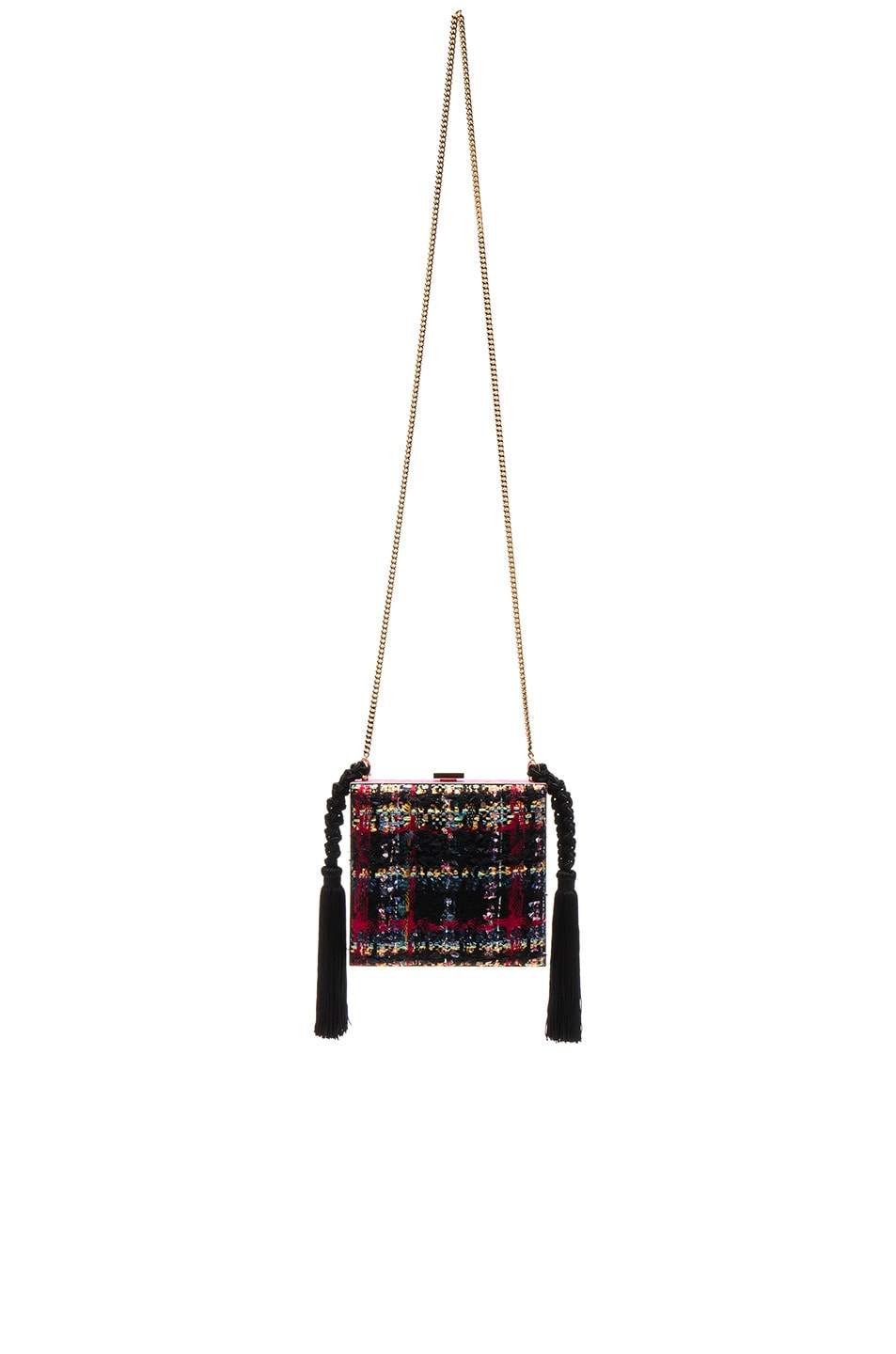 Image 1 of Alessandra Rich Boucle Minaudiere in Fuchsia