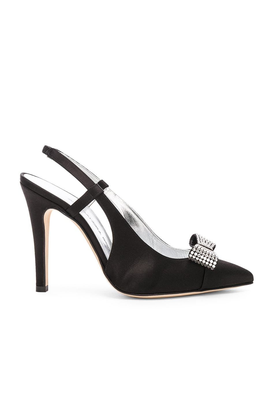 Image 1 of Alessandra Rich Satin Swarovski Bow Pumps in Black
