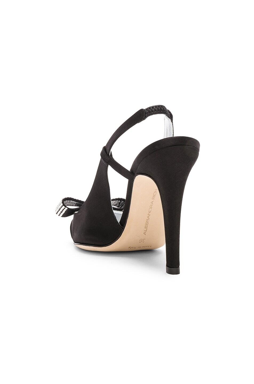 Image 3 of Alessandra Rich Satin Swarovski Bow Pumps in Black