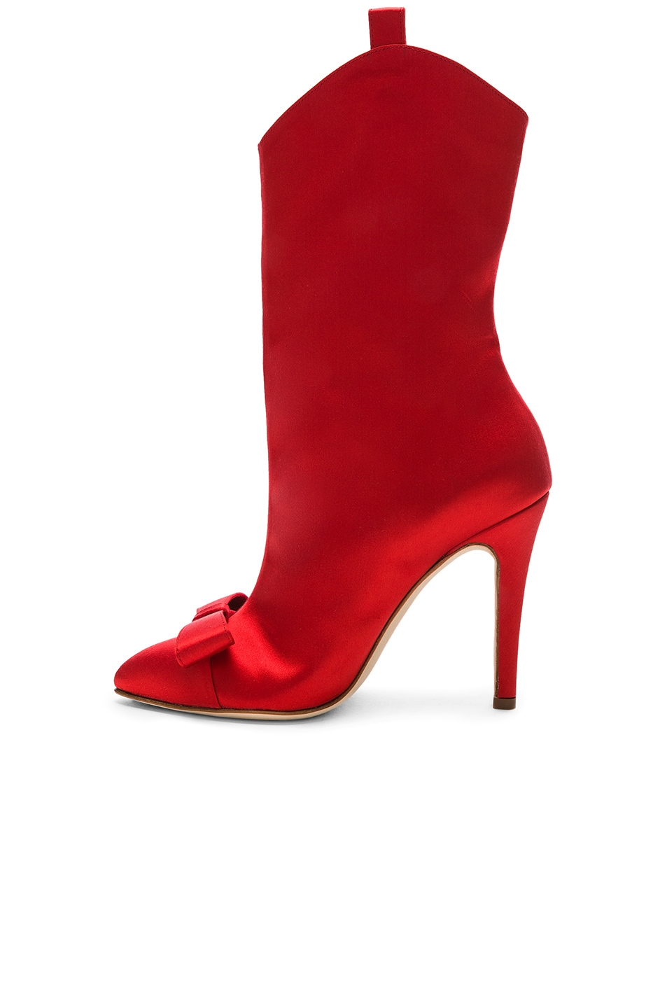 Image 5 of Alessandra Rich Satin Bow Boots in Red