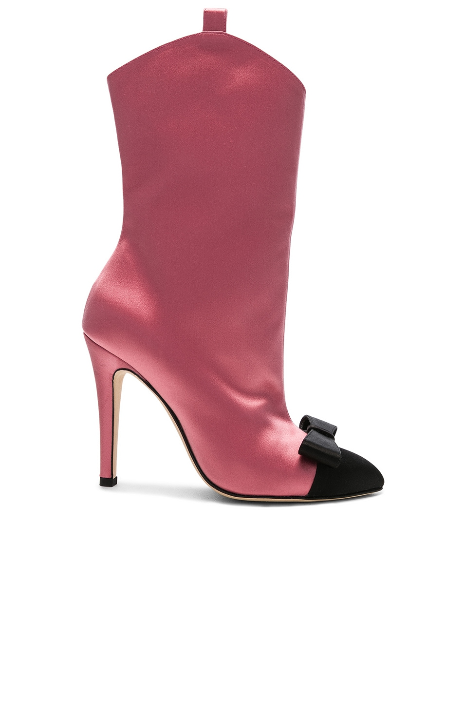 Image 1 of Alessandra Rich Satin Bow Boots in Pink & Black