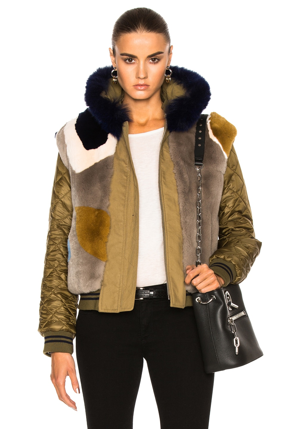Image 1 of Army by Yves Salomon Reversible Bomber With Rabbit & Fox Fur in Amazon Blue Floral