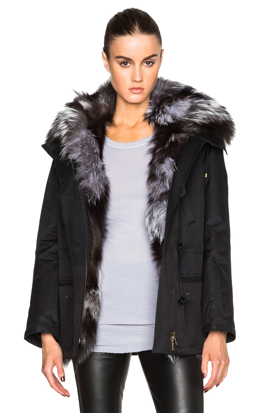 88aeab335376 Image 1 of Yves Salomon - Army Short Gap Parka With Fox Fur in Noir Argente