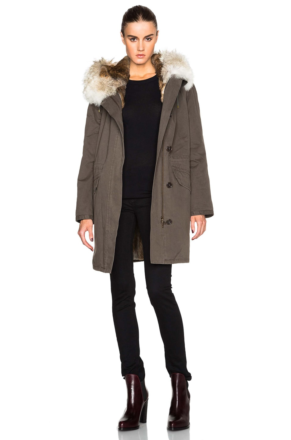 b3f6ee7502d Yves Salomon - Army Classic Parka With Rabbit & Coyote Fur in Hunter ...