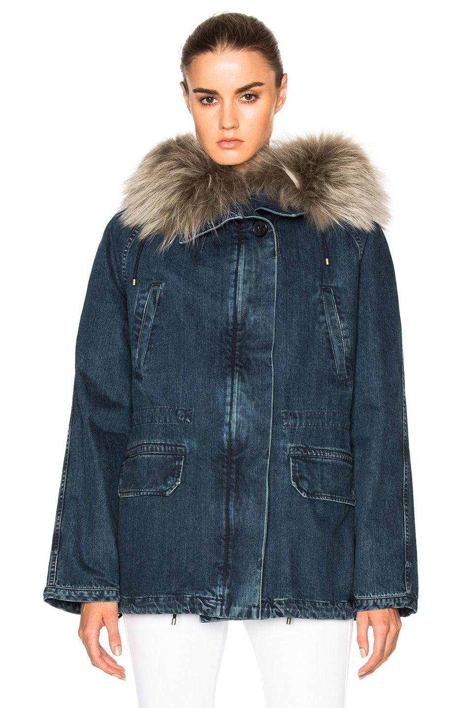 Image 1 of Army by Yves Salomon Denim Parka Jacket in Blue & Tank