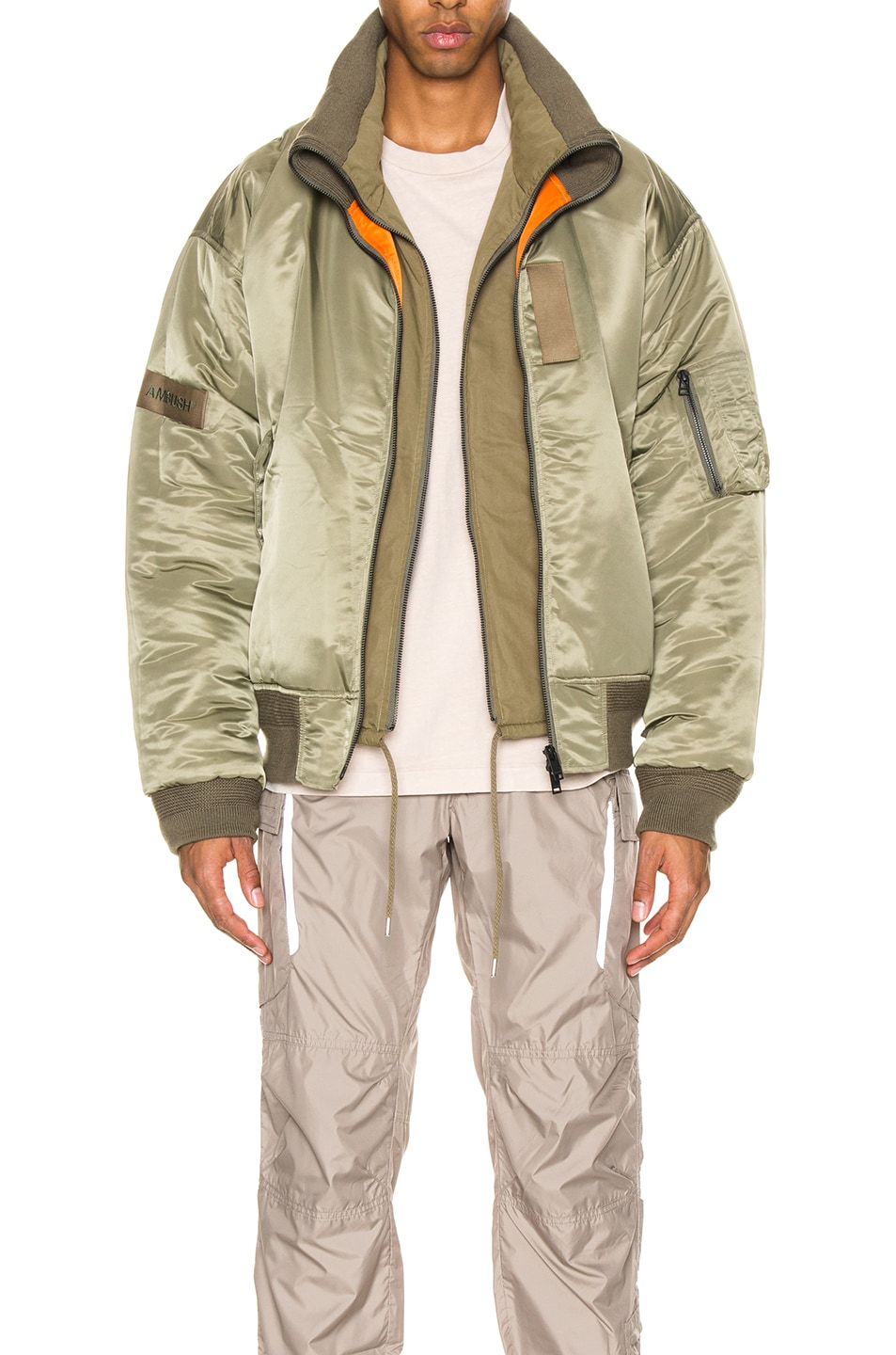 Image 2 of Ambush Padded Reversible Jacket in Olive