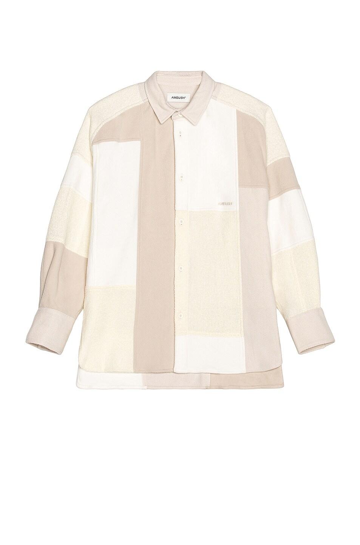 Image 1 of Ambush Patchwork Shirt in White & Multi