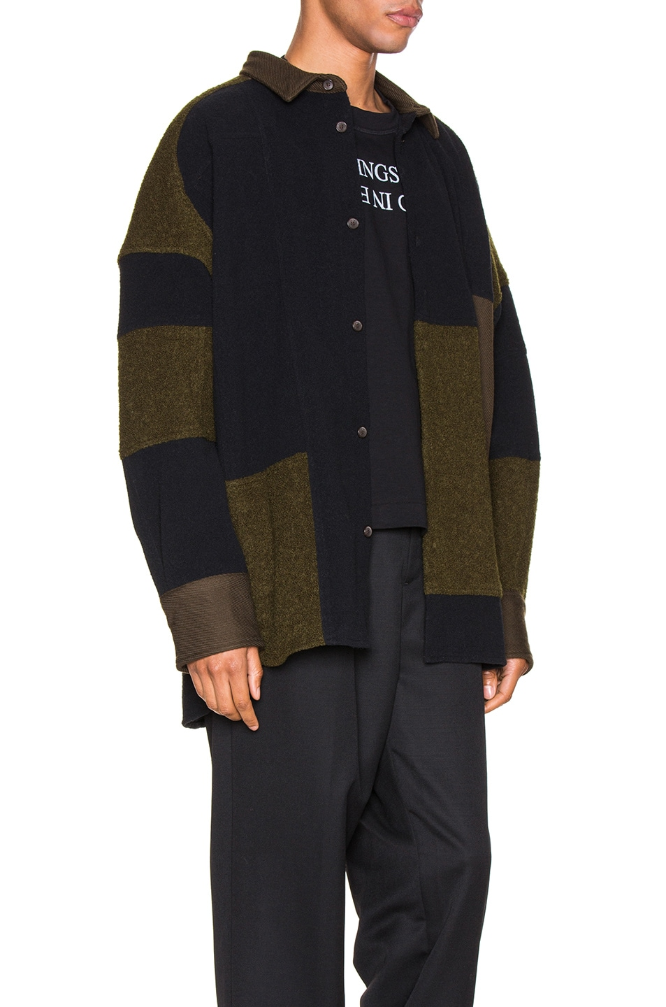 Image 3 of Ambush Fleece Patchwork Shirt in Dark Green