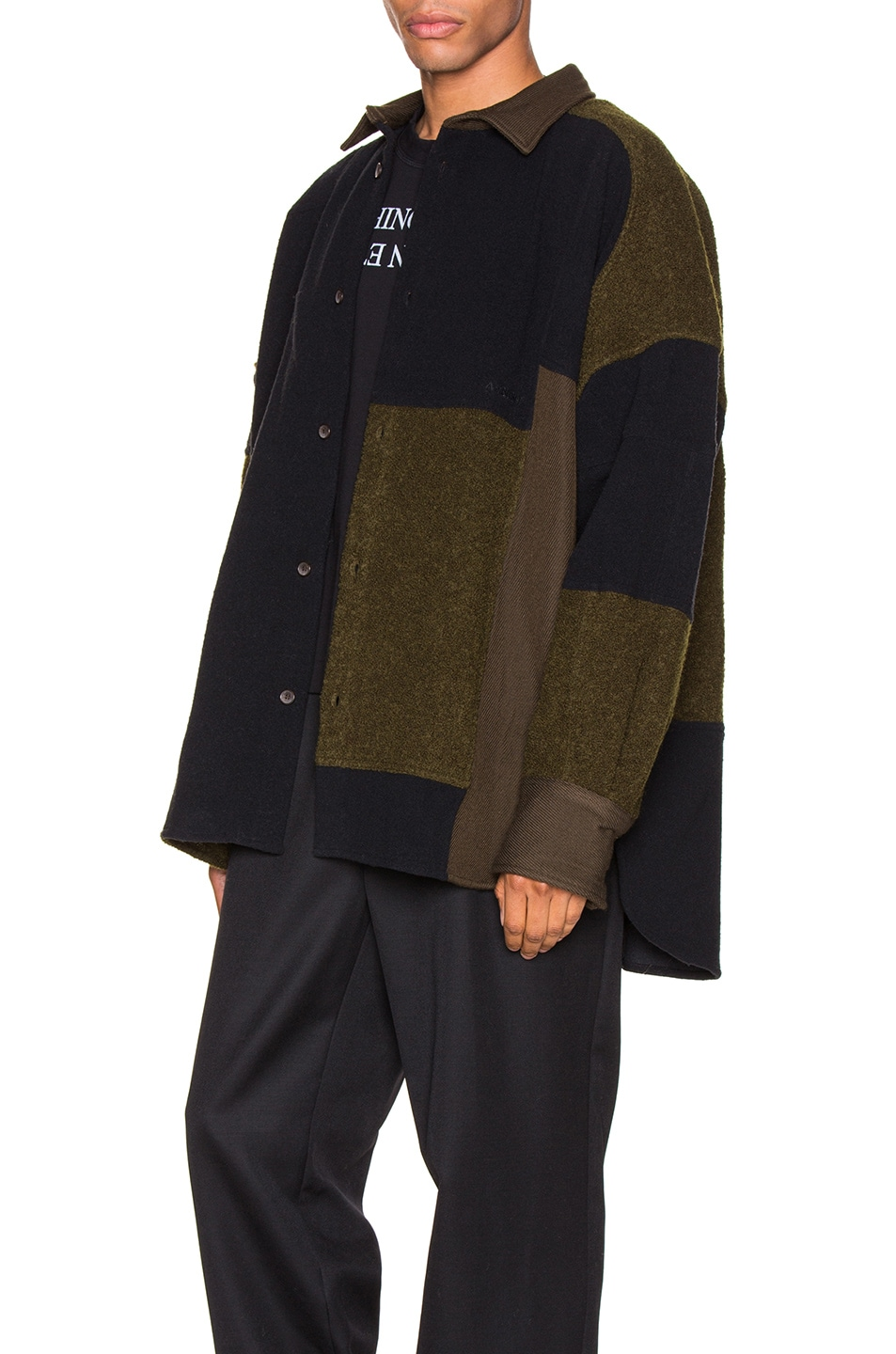 Image 4 of Ambush Fleece Patchwork Shirt in Dark Green