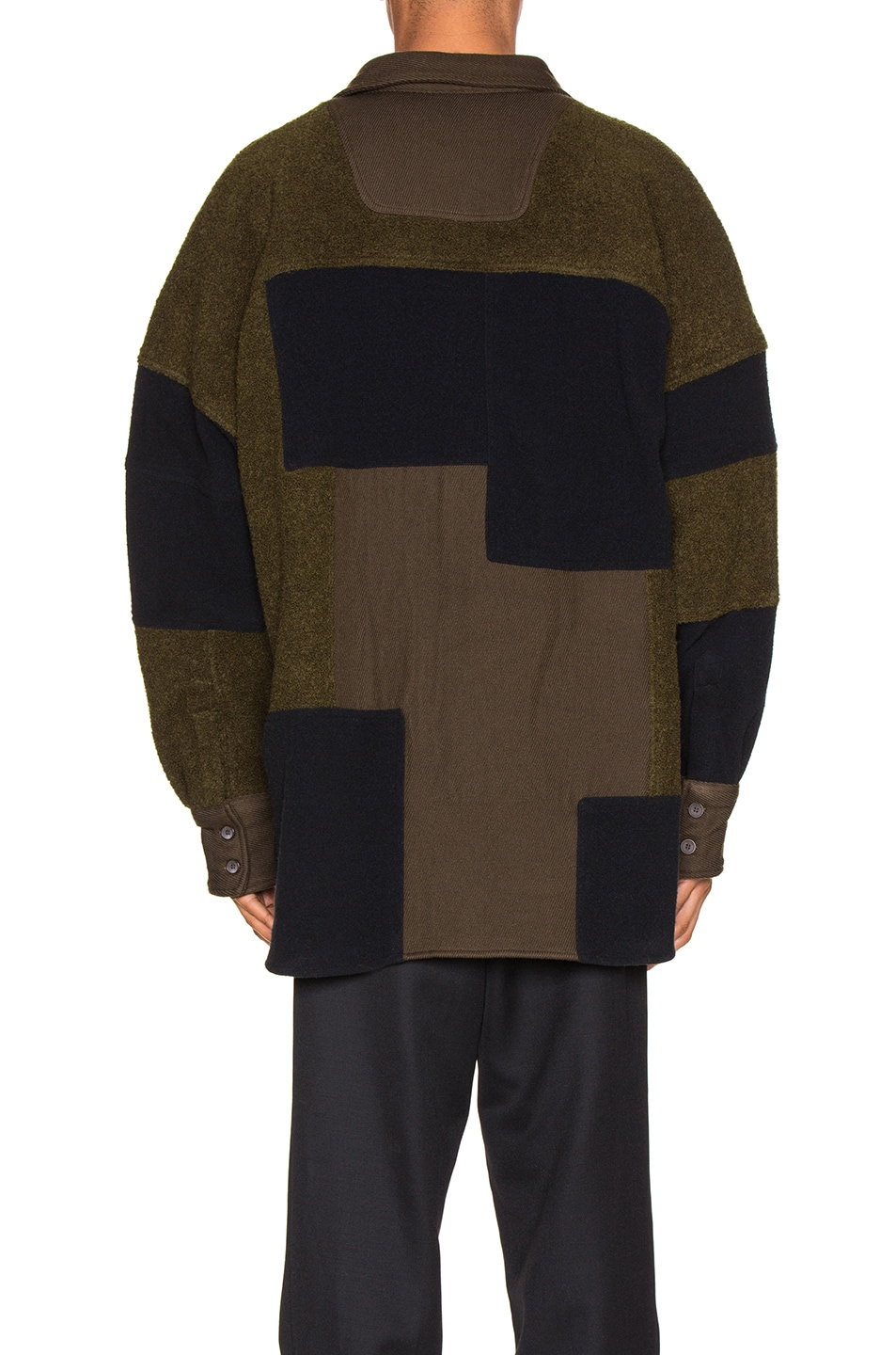 Image 5 of Ambush Fleece Patchwork Shirt in Dark Green
