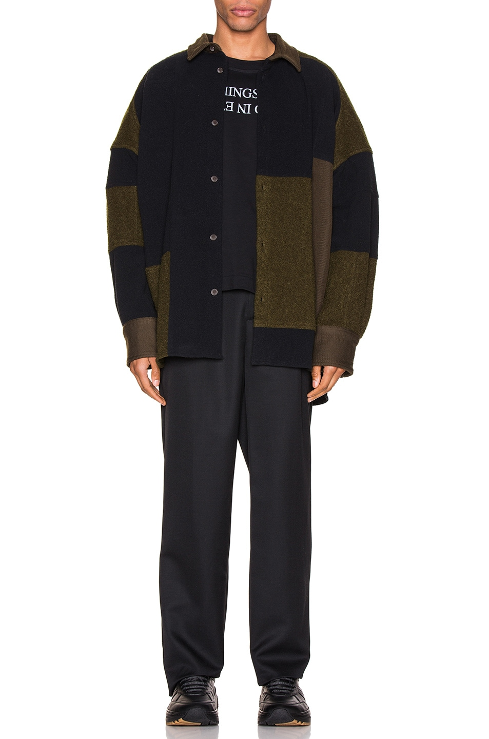 Image 6 of Ambush Fleece Patchwork Shirt in Dark Green