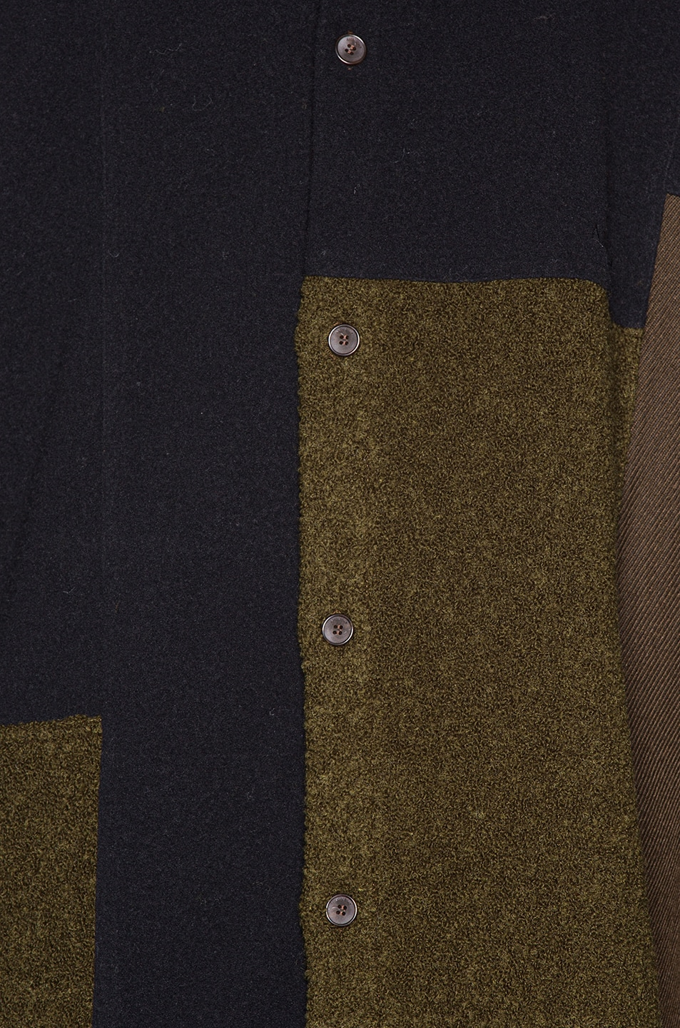Image 7 of Ambush Fleece Patchwork Shirt in Dark Green