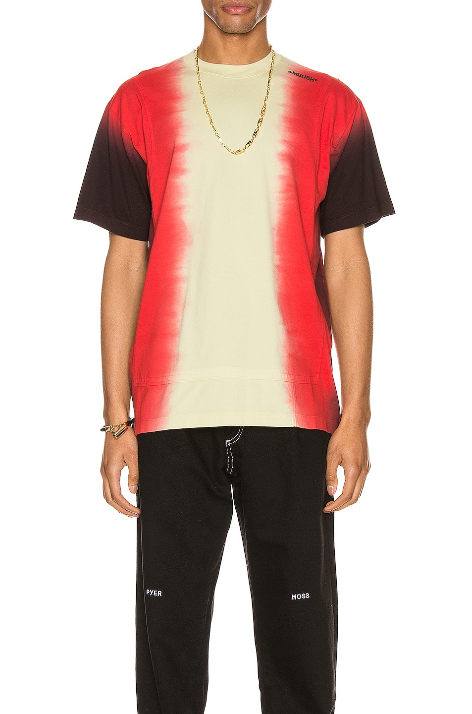 Image 1 of Ambush Tie Dye Paneled T-Shirt in Light Yellow Multi