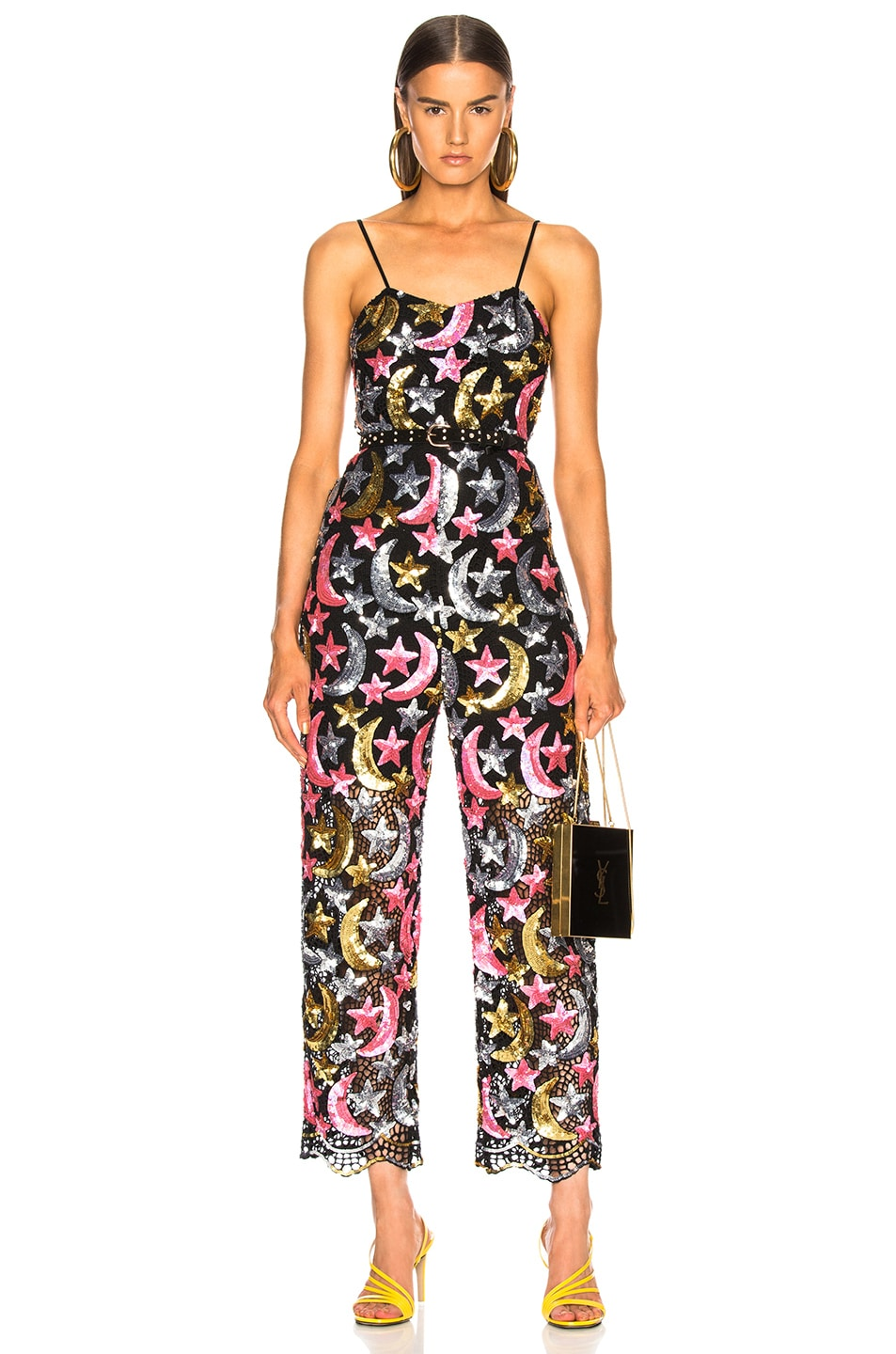 Image 1 of Ashish Sequin Star Moon Jumpsuit in Pink, Metallic & Black
