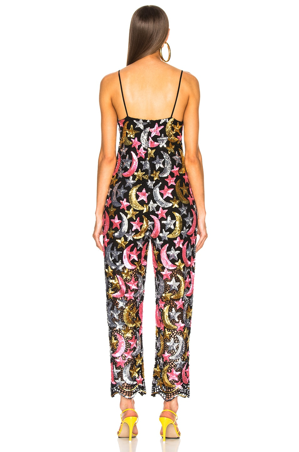 Image 3 of Ashish Sequin Star Moon Jumpsuit in Pink, Metallic & Black