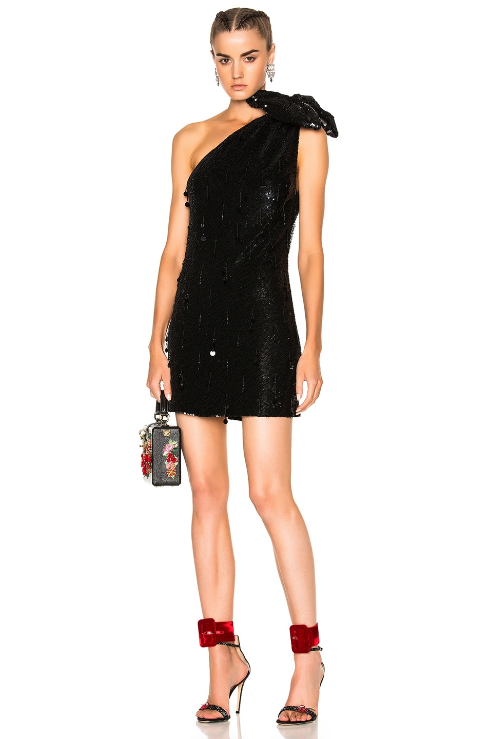 Image 1 of Ashish Sequin Shoulder Bow Dress in Black