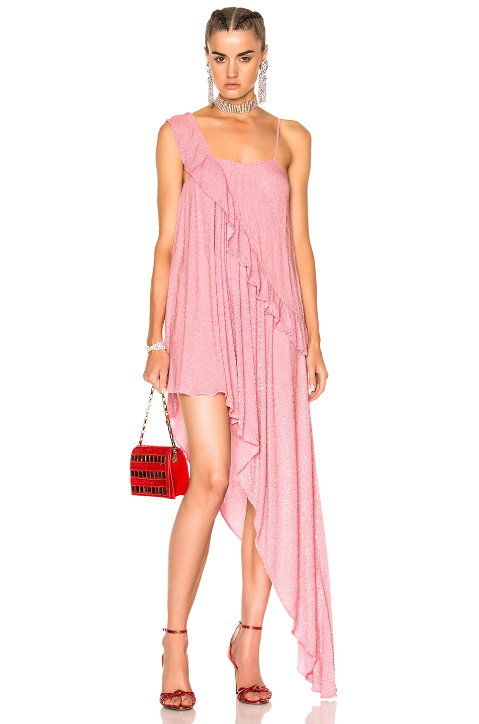 Image 1 of Ashish Beaded Asymmetrical Ruffle Dress in Pink
