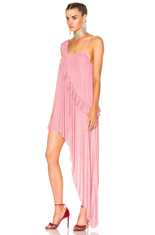Image 2 of Ashish Beaded Asymmetrical Ruffle Dress in Pink