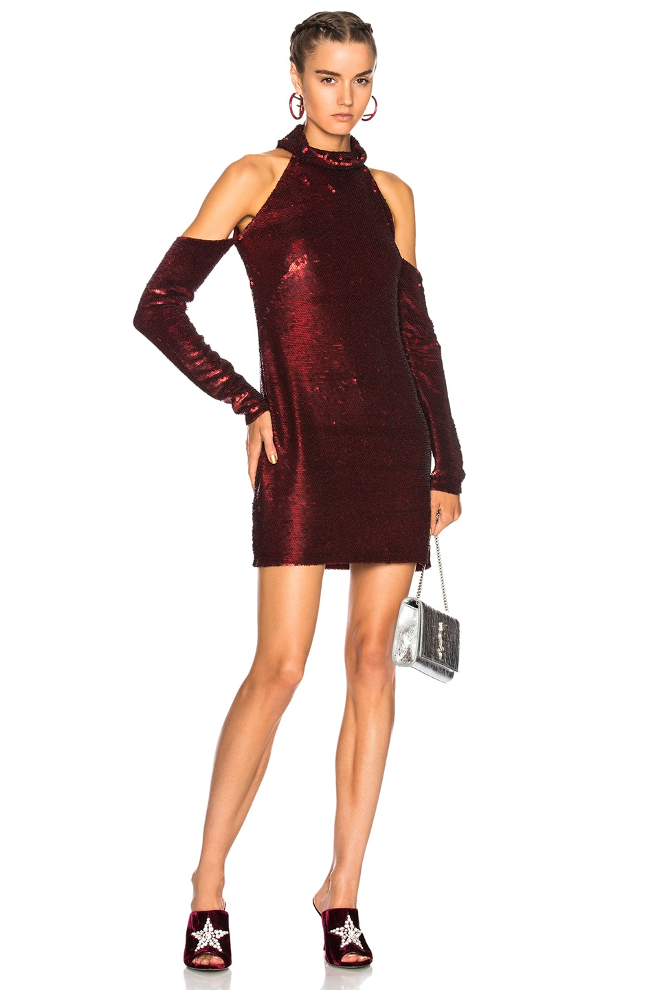 Image 1 of Ashish Cold Shoulder Dress in Maroon Velvet Sequin