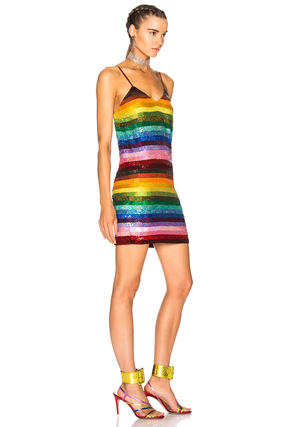 Image 3 of Ashish Backless Mini Dress in Glitter Rainbow