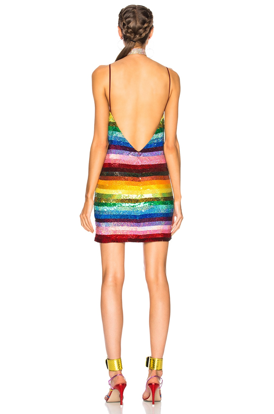 Image 4 of Ashish Backless Mini Dress in Glitter Rainbow
