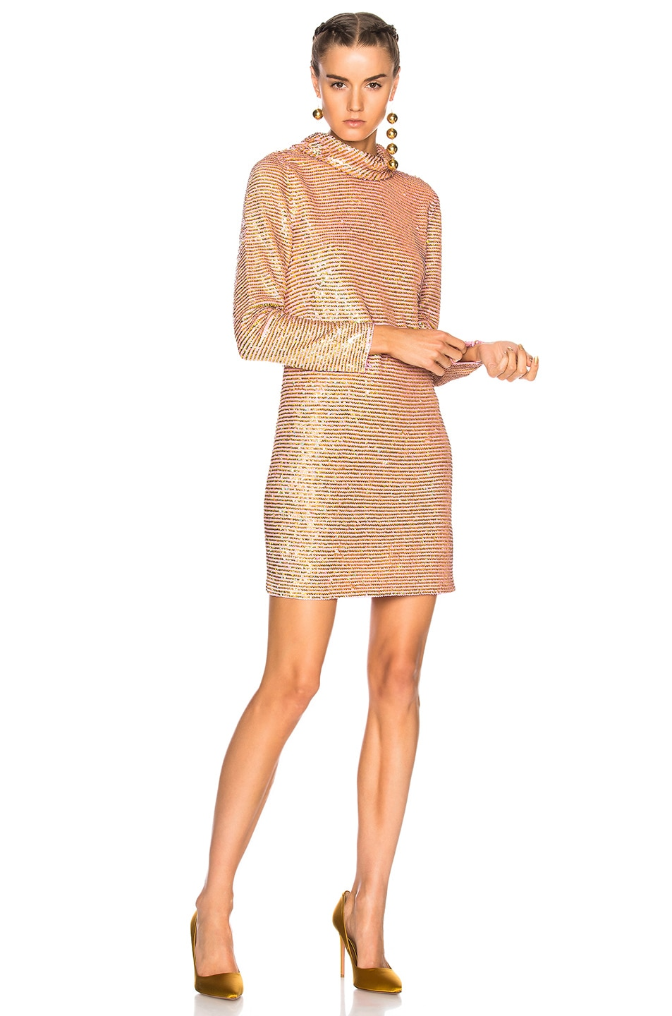 Image 1 of Ashish Sequin Roll Neck Dress in Golden Pink