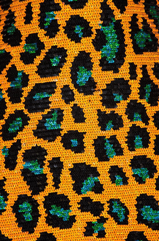 Image 4 of Ashish Sequin Slip Dress in Orange Leopard