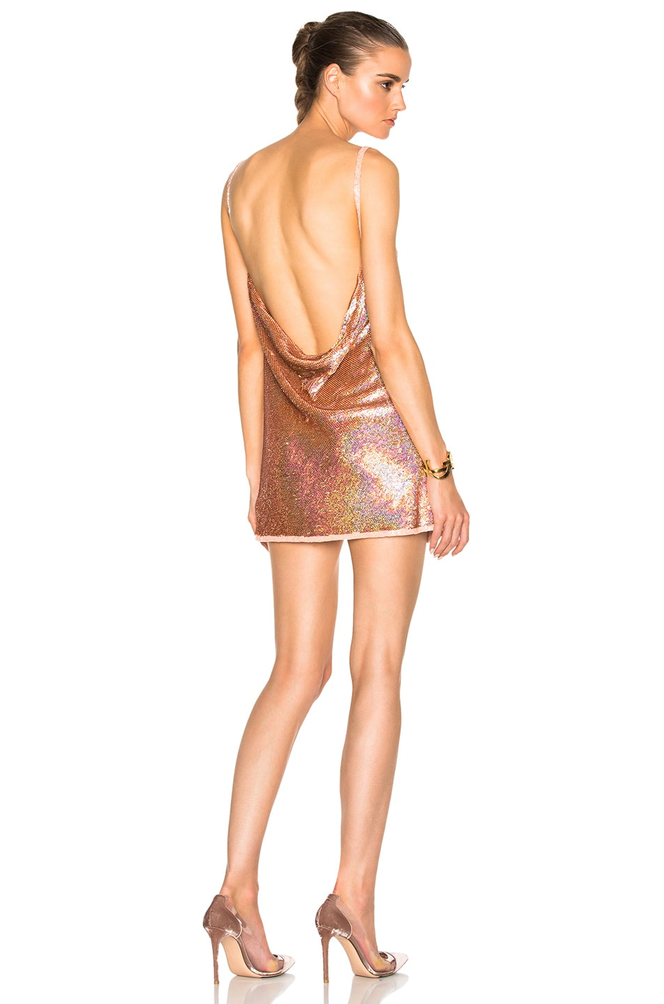 Image 1 of Ashish V Neck Backless Dress in Glitter Nude