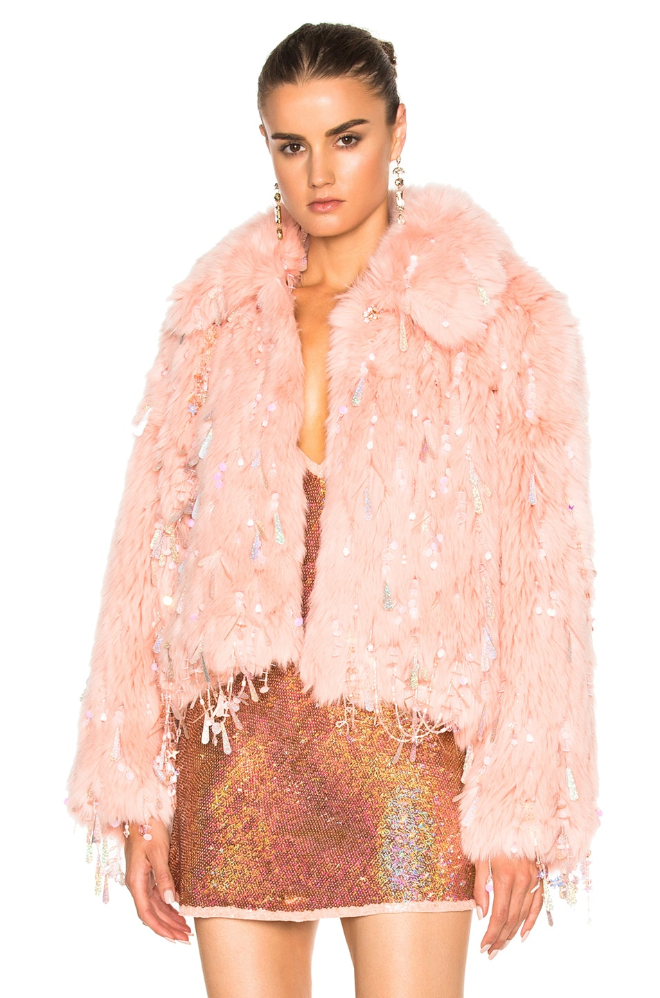 Image 1 of Ashish Faux Fur Dangle Jacket in Peach