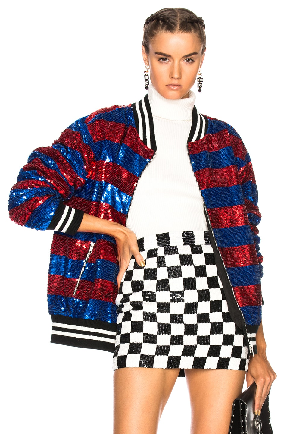 Image 1 of Ashish Sequin Oversize Varsity Jacket in Red & Blue