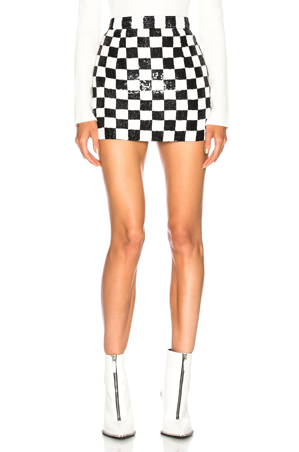 Image 1 of Ashish Sequin Mini Skirt in Black & White Checkerboard