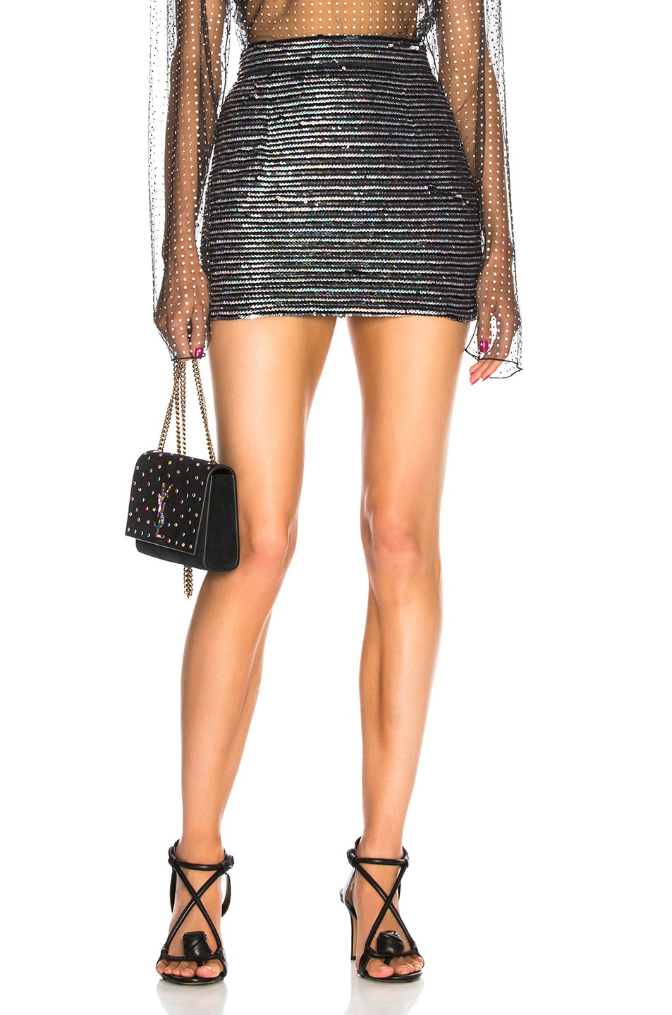 Image 1 of Ashish for FWRD Sequin Mini Skirt in Horizontal Disco Stripe