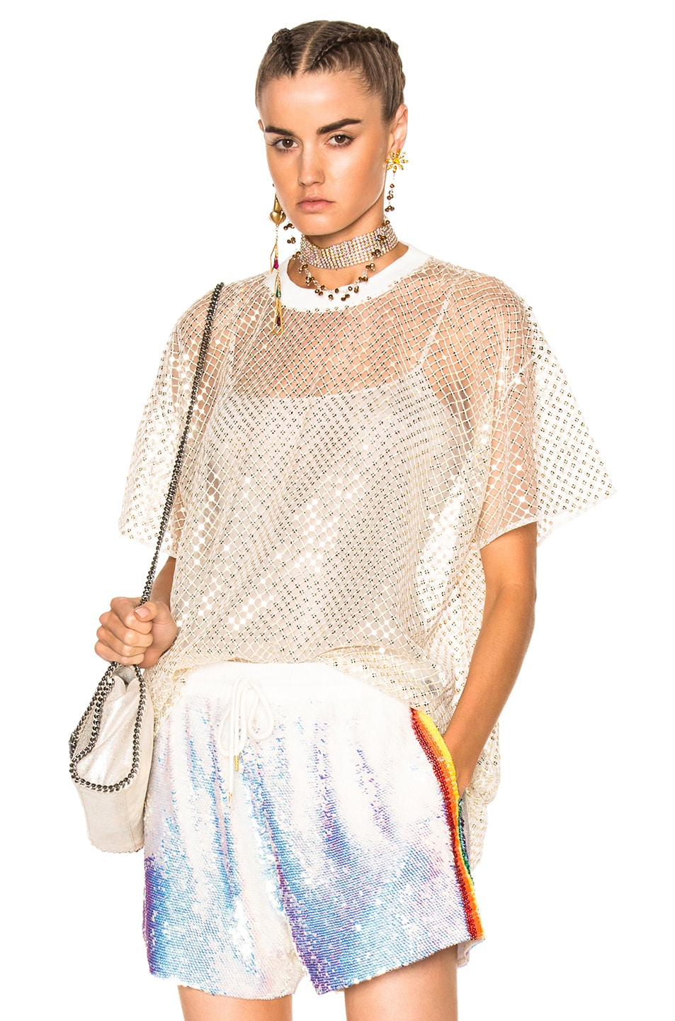 Image 1 of Ashish Oversized Net T-Shirt With Stardust in Gold & White