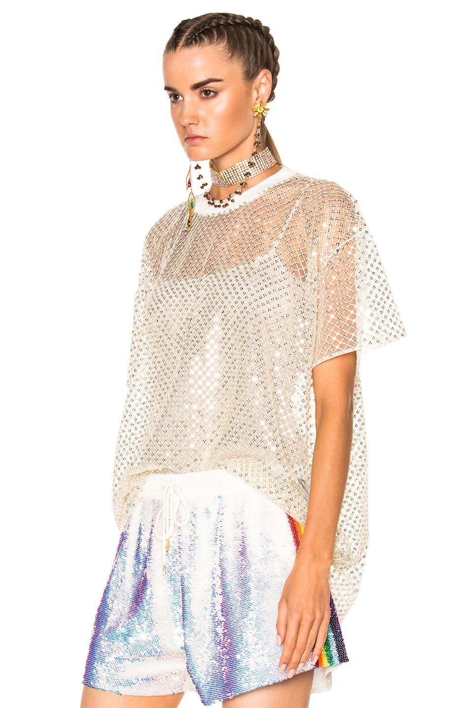 Image 2 of Ashish Oversized Net T-Shirt With Stardust in Gold & White
