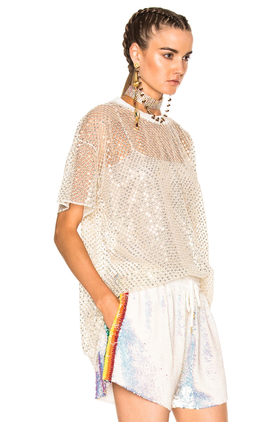 Image 3 of Ashish Oversized Net T-Shirt With Stardust in Gold & White