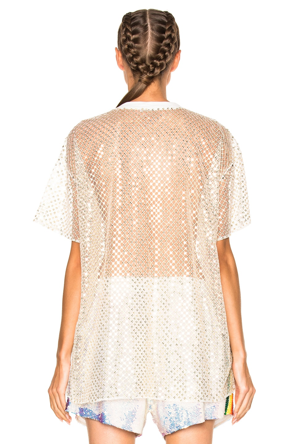 Image 4 of Ashish Oversized Net T-Shirt With Stardust in Gold & White