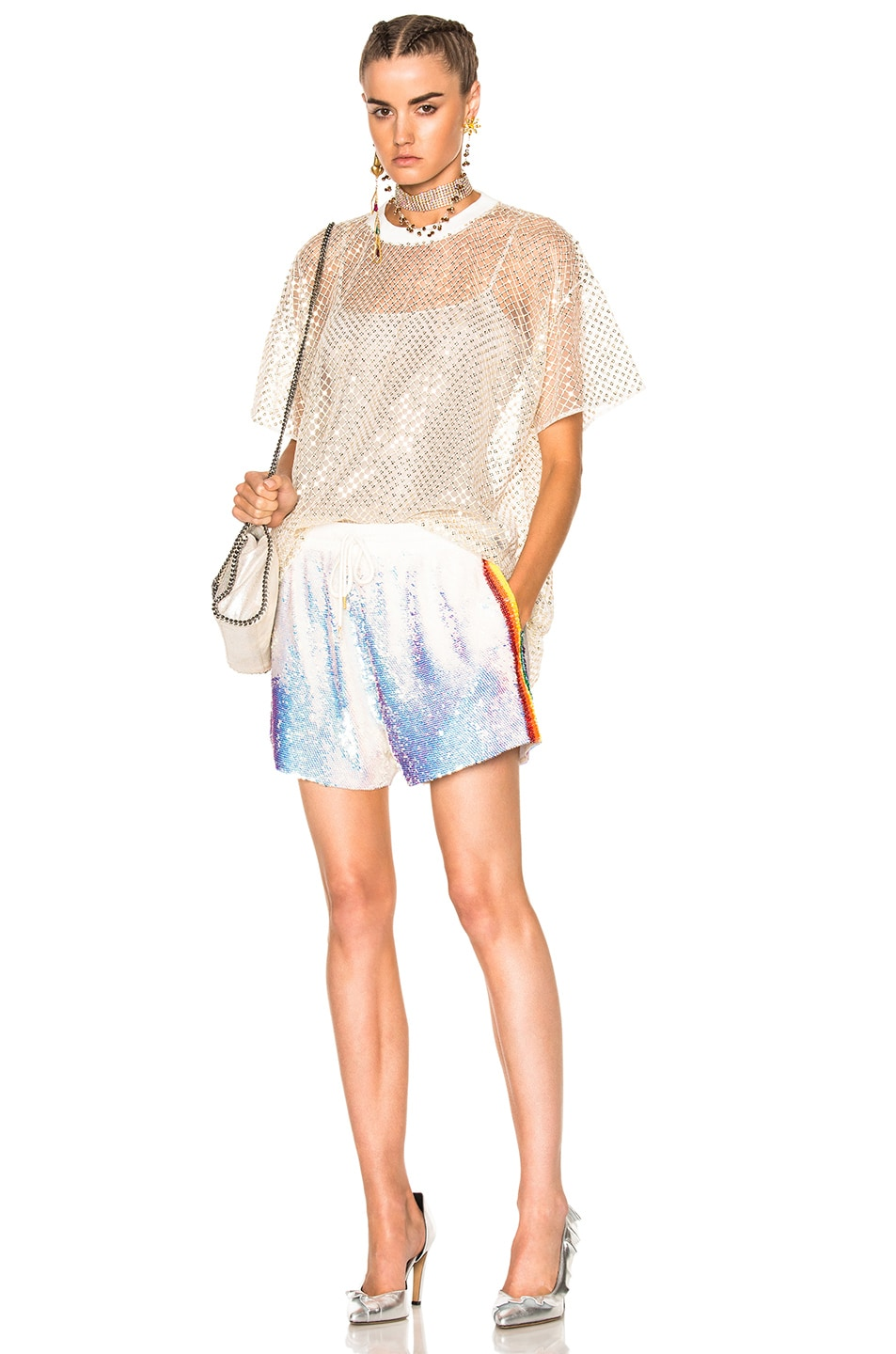 Image 5 of Ashish Oversized Net T-Shirt With Stardust in Gold & White