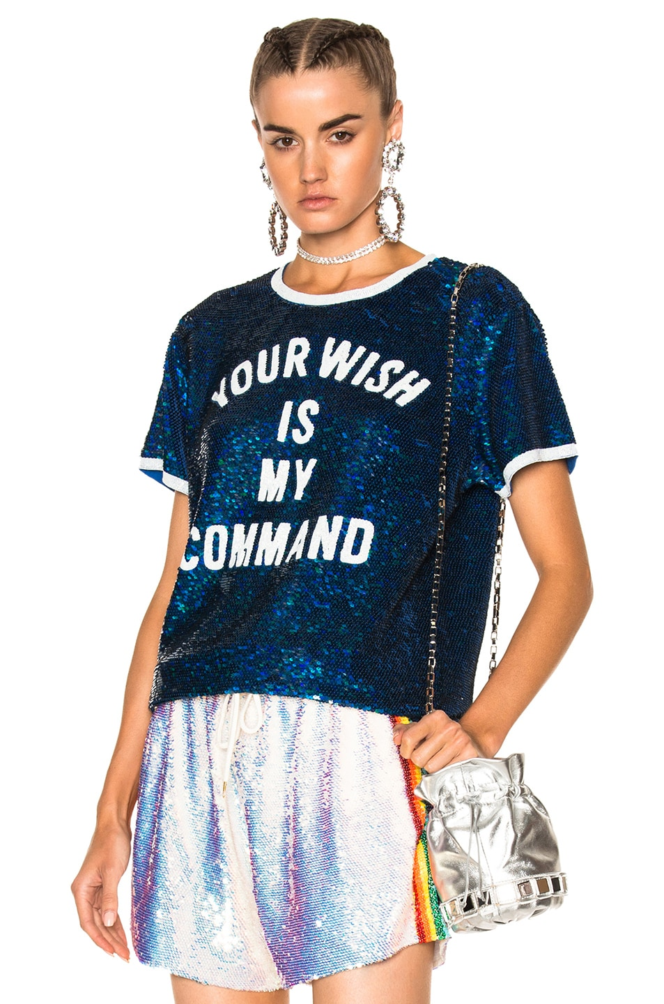Image 1 of Ashish Your Wish is My Command T-Shirt in Blue & White
