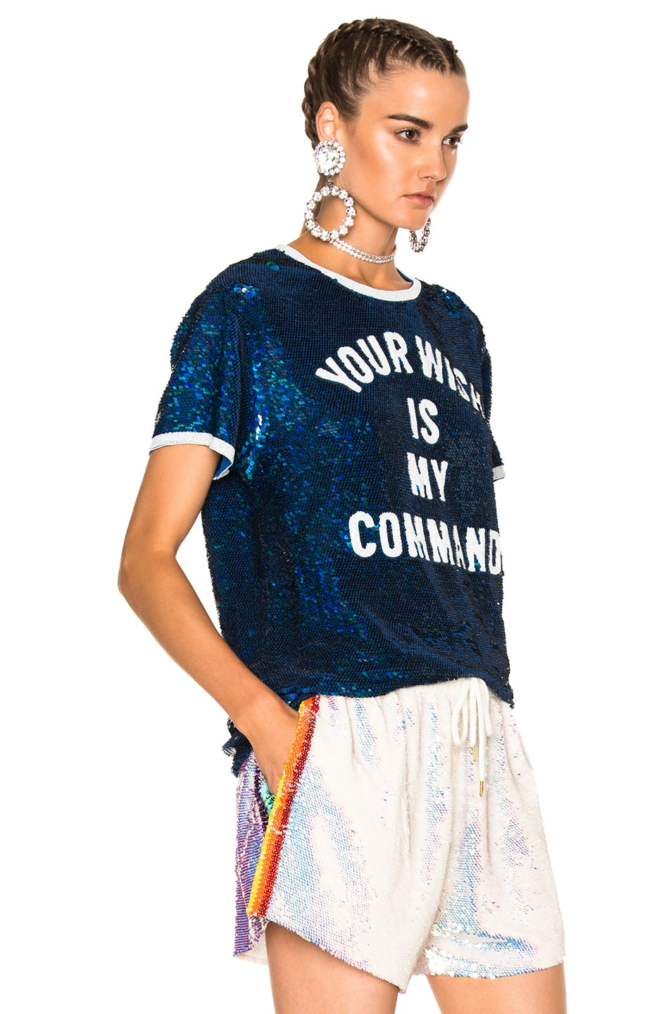 Image 3 of Ashish Your Wish is My Command T-Shirt in Blue & White