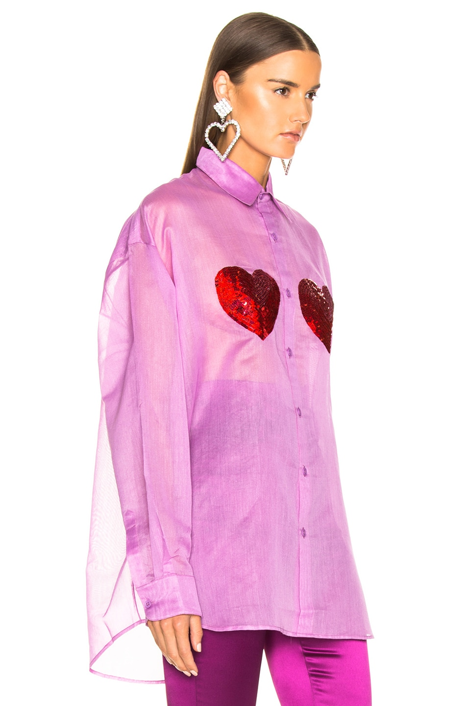 Image 2 of Ashish Classic Sequin Heart Shirt in Orchid & Red