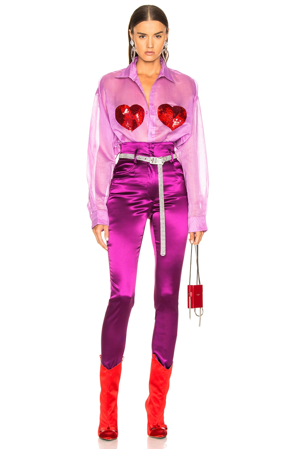 Image 4 of Ashish Classic Sequin Heart Shirt in Orchid & Red