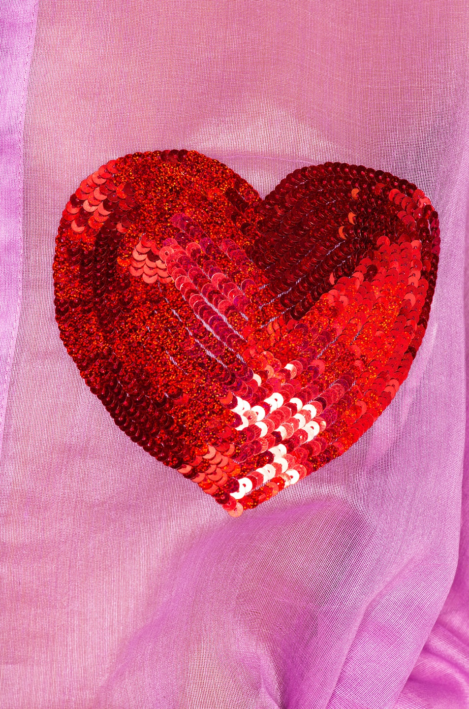 Image 5 of Ashish Classic Sequin Heart Shirt in Orchid & Red
