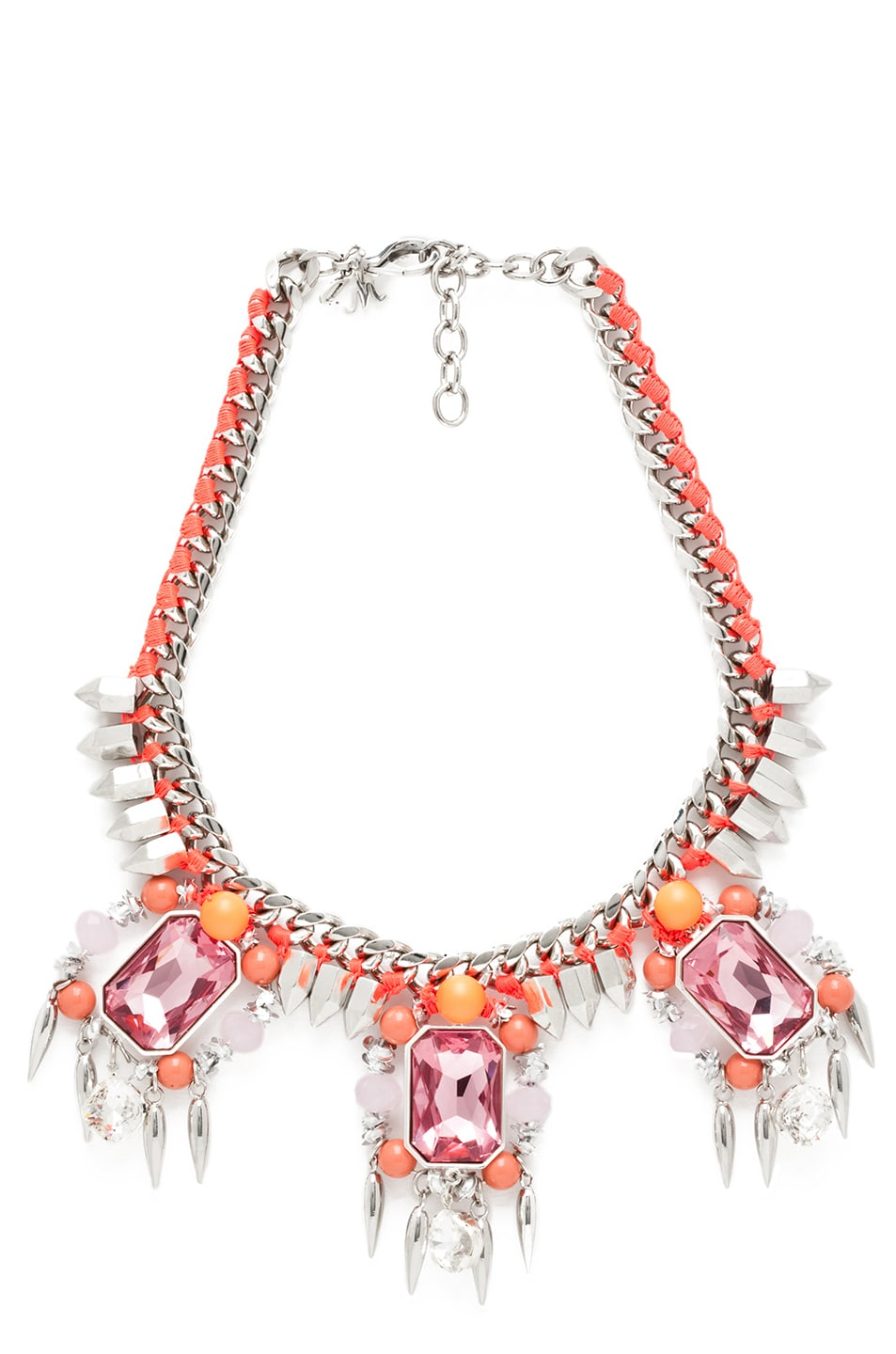 Image 1 of Assad Mounser Chroma Crypt Silver Plated Collar in Peach Neon