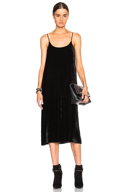 Image 1 of ATM Anthony Thomas Melillo Crushed Velvet Slip Dress in Black
