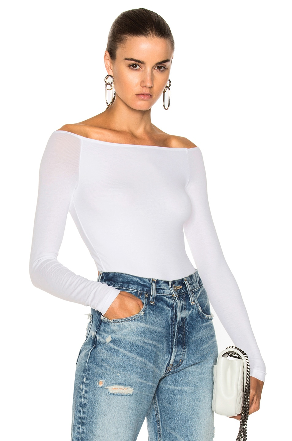 c9c4b79af2 Image 1 of ATM Anthony Thomas Melillo Off Shoulder Bodysuit in White